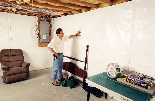 basement wall vapor barrier system installed in a home