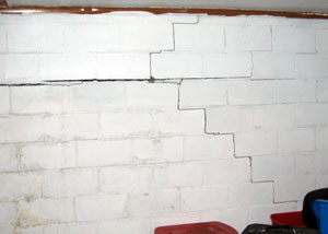 a cracked, bowing foundation wall
