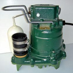 Closeup of a Zoeller basement sump pump
