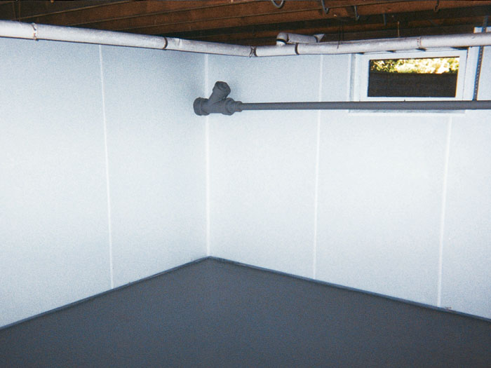 Reasons To Use The Water Sealant Paint For Basement A basement wall thatu0027s been upgraded with a plastic paneling that will keep  it waterproof and