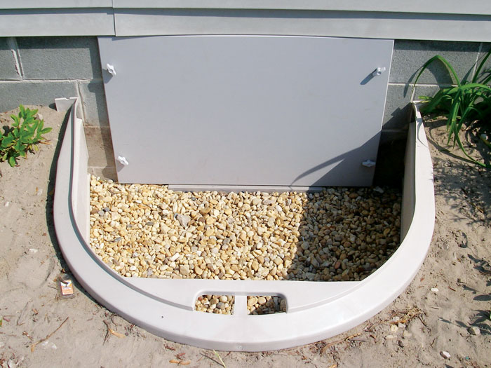 ... Overhead View Of A Crawl Space Door And Access Well Installation