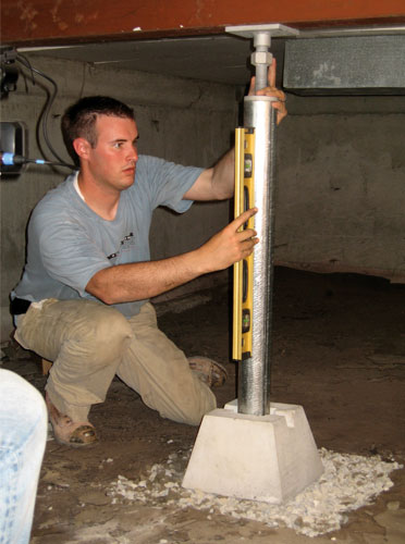 how to add column supports in crawlspace