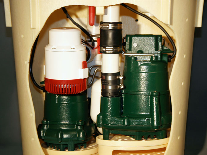 our triplesafe sump pump system with the two green primary pumps