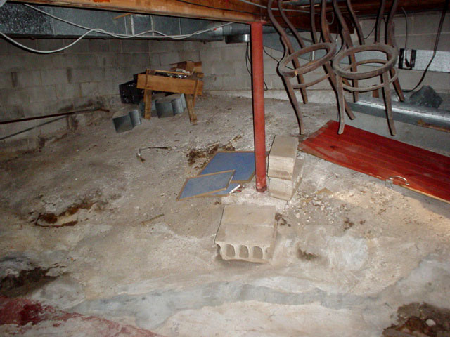 Nice A Basement With A Dirt Floor That Is Experiencing Moisture Issues.