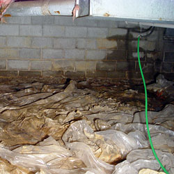 a do it yourself crawl space liner installation with leaking walls in the background