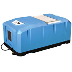 An energy efficient crawl space dehumidifier system