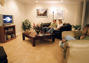 Basement flooring installed in a finished family room.