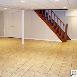 A beautiful finished dry basement.