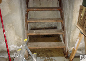 A flooded basement staircase, with water pooling underneath the stairs.