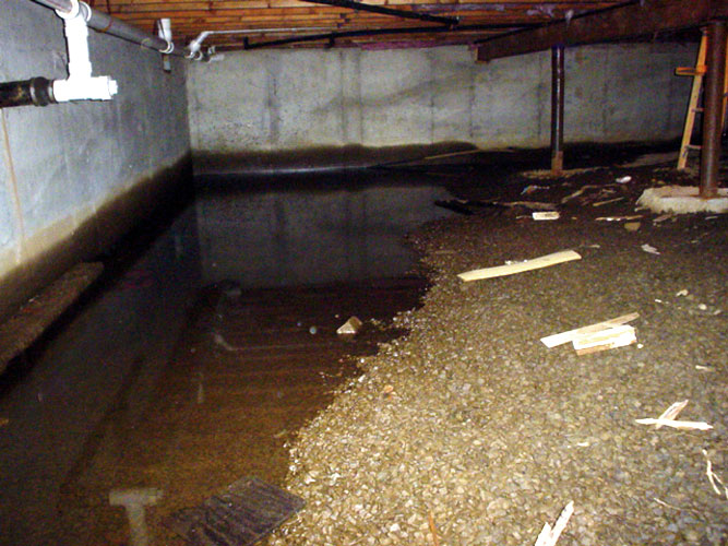 Water in the crawl space Crawl space flooring