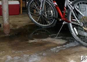 A basement floor that's flooding through several floor cracks.