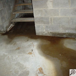 A basement flooding from the hatchway stairs opening, located.