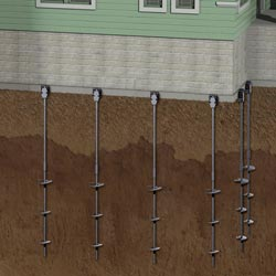 diagram of foundation helical piers installed to support a home