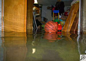 A basketball floating on flooded waters in a heavily flooded basement.
