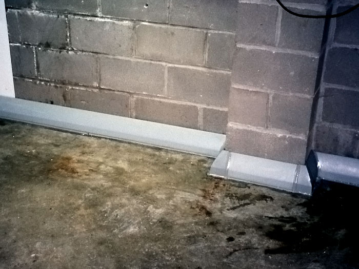 The drytrak baseboard basement drain system for One pipe drainage system