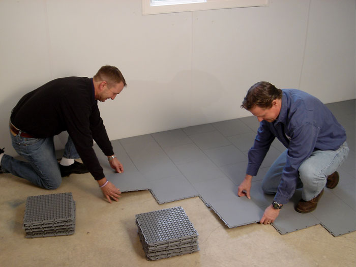 Installation Of Our Waterproof Basement Floor Matting Tiles.
