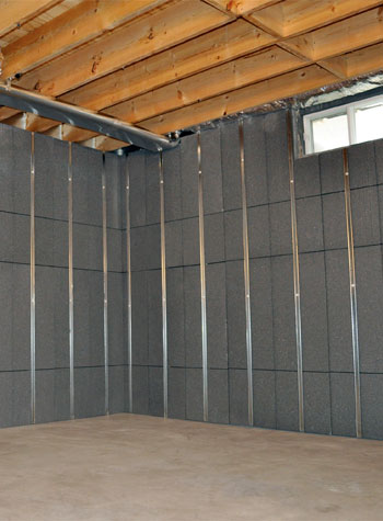 a basement insulated with our rigid foam paneling