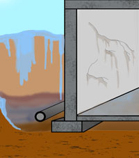 An illustrated cross section of a home with a basement flood issue.
