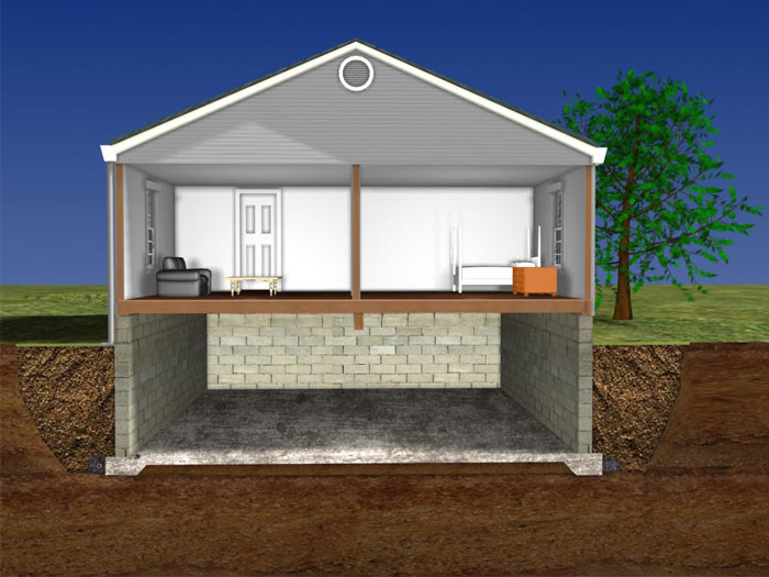 Illustration of a monolithic foundation with the floor and footing in one piece and & Keeping Water Off A Monolithic Floor | Waterproofing Solutions For ...