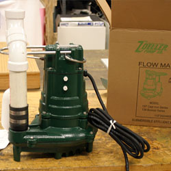 A Zoeller sump pump system for replacing old failed sump pumps