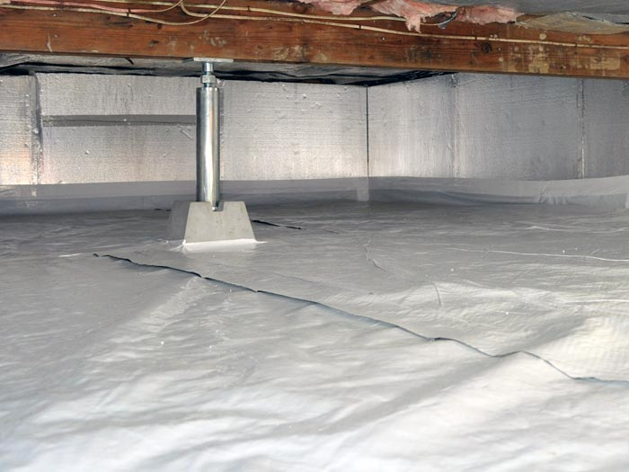 Crawl space structural repair for Insulating basement floor before pouring