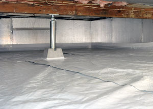 a repaired crawl space with a vapor barrier, crawl space jack post, and waterproof insulation