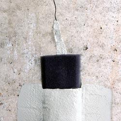 a sealed crack in a concrete foundation wall