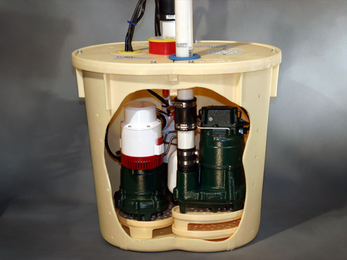sump pump installed in a sump pit that is in need of service