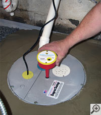 A sump pump system installation in progress