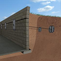 foundation wall anchors installed to repair the concrete block wall shown