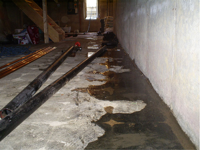 Exceptional Severe Basement Leaking Through The Wall Floor Joint In A Home
