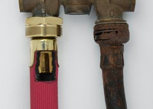 Comparison of our industrial grade washer hoses next to an old, corroded rubber washer hose