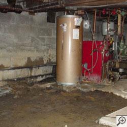 A failed water heater flooding basement.