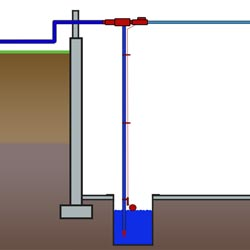 drawing of a water powered sump pump system in a basement