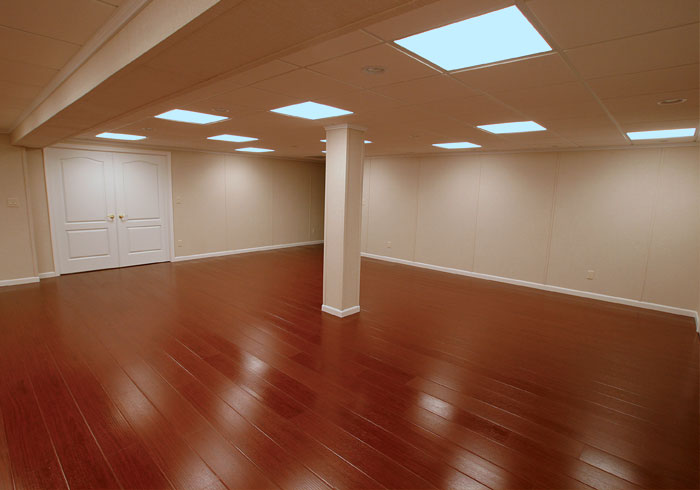 The millcreek synthetic wood basement flooring system for Basement flooring ideas pictures