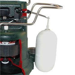 The float switch of a Zoeller sump pump.